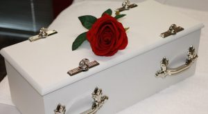 Child Casket White (also available in pink & blue)